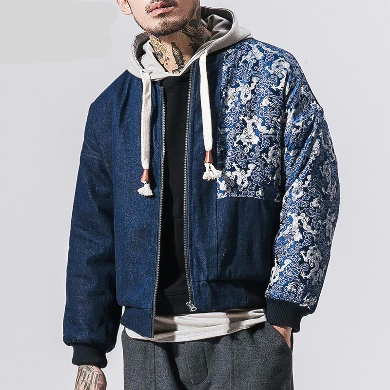 Japanese Retro Stitching Chinese Pattern Embroidery Men Hooded Jacket - FanFreakz