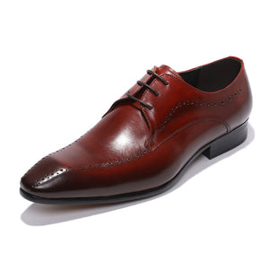 Unique Toe Burgundy Men Derby Shoes - FanFreakz