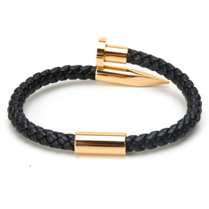 Titanium Nail Braided Leather Men Bangle Bracelets - FanFreakz