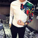 One Side Printed Detail Fancy Men Long Sleeves Shirt - FanFreakz