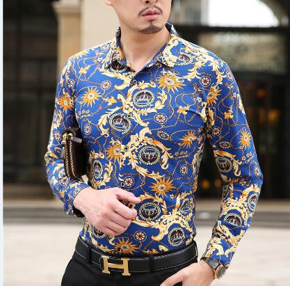 Long Sleeve Mens Printed Dress Shirts Luxury Style - FanFreakz