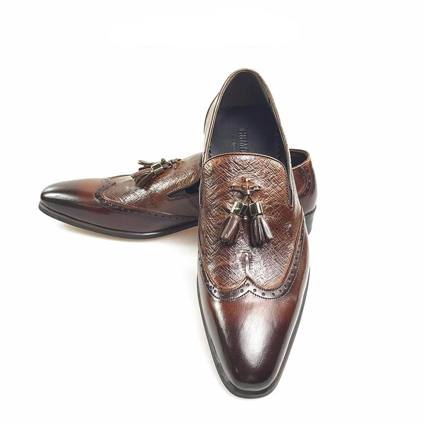Perforated Wingtip Men Loafers Shoes with Tassel - FanFreakz