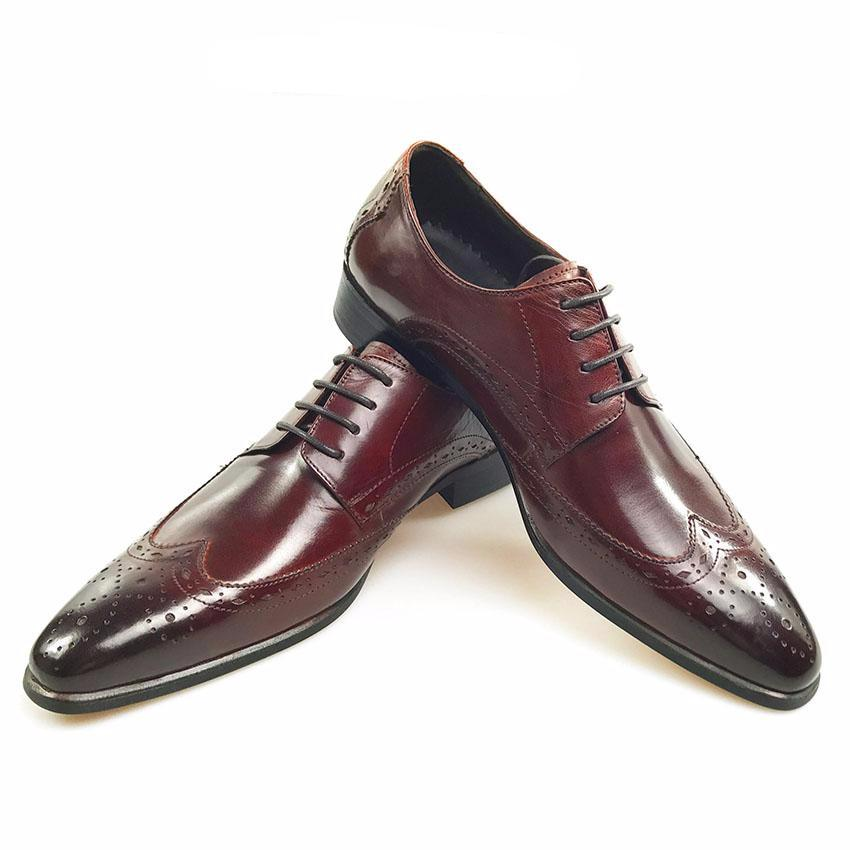 Luxury Style Perforated Wingtip Men Derby Shoes - FanFreakz