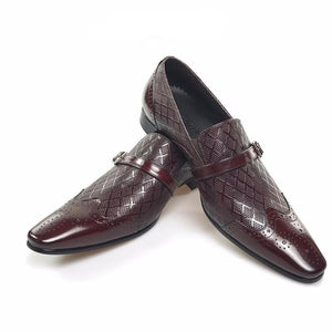 Patterned Leather Men Wingtip Loafers with Small Buckle on Leather Strap Detail - FanFreakz