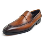 Twisted Leather Details Pointed Toe Brown Men Loafers Shoes - FanFreakz
