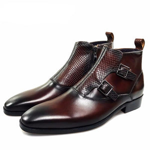 Double Monk Strap Men High Top Boots with Lizard Pattern Closure - FanFreakz