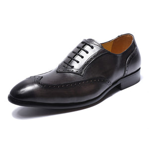 British Style Perforated Detail Men Oxford Shoes With Wingtip - FanFreakz
