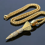 Bling Rhnestone Rock Darts Shape Pendant Men Gold Necklace - FanFreakz