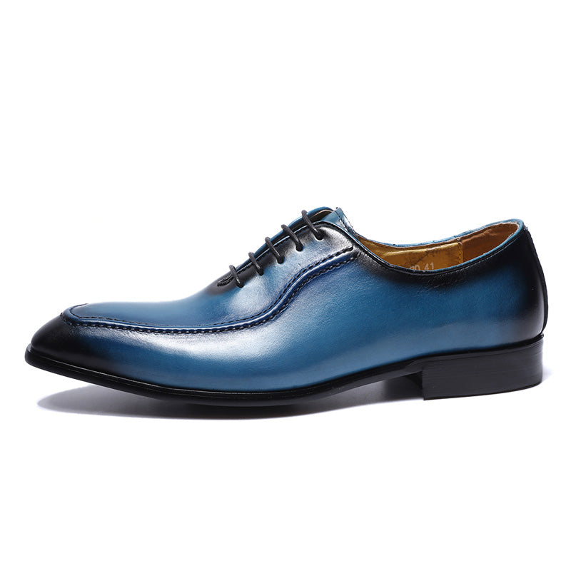 Blue Lace Up Men Oxford Shoes with Side Stitch Detail - FanFreakz