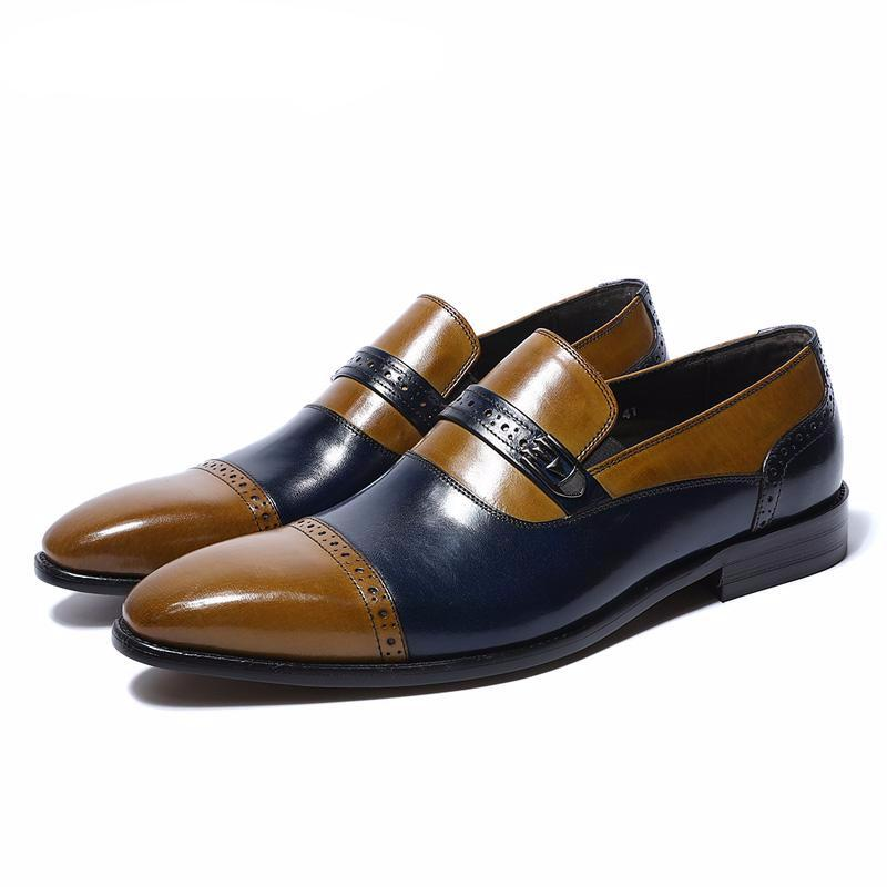 Blue Brown Men Loafers Formal Shoes With Perforated Detail - FanFreakz
