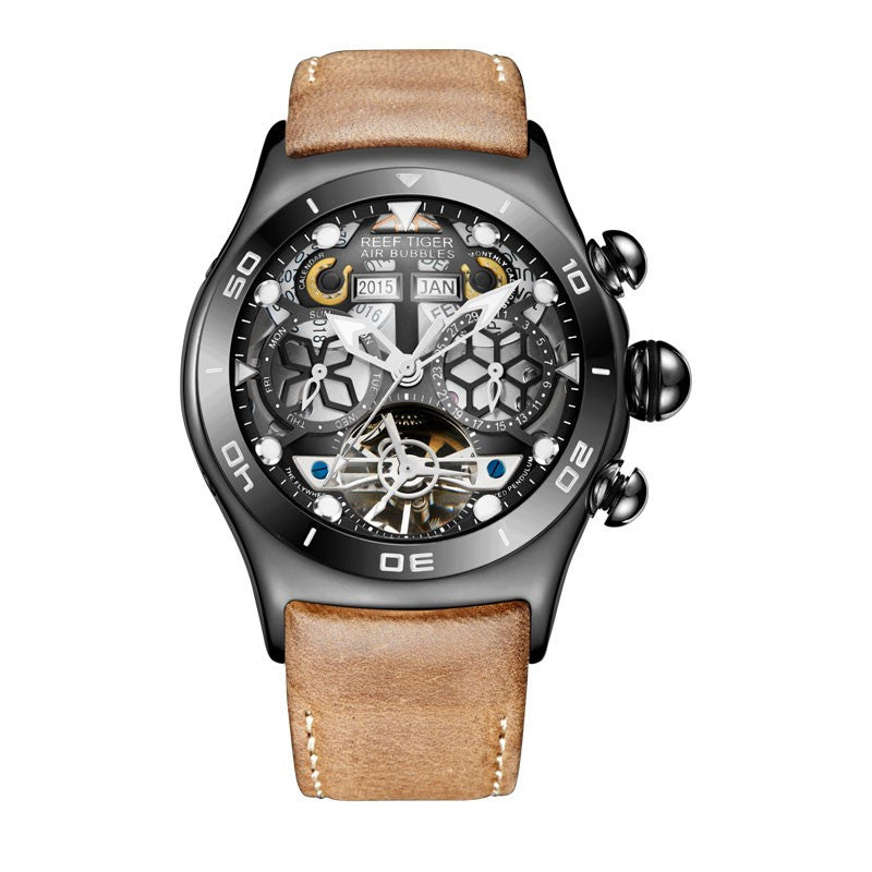 Men Tourbillon Skeleton Luminous Automatic Watch - FanFreakz