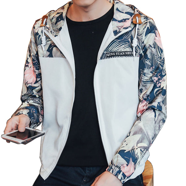 Hip Hop Style Floral Hooded Men Bomber Jacket