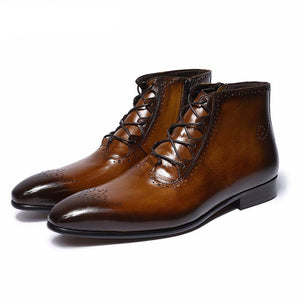 Italian Vintage Style Perforated Men Boots - FanFreakz