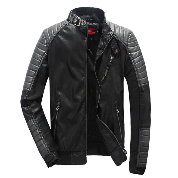 Shoulder Sleeves Stitched PU Leather Men Motorcycle Jacket - FanFreakz