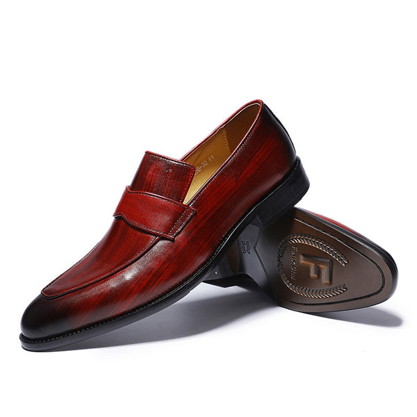 Hand-Painted Style Red Men Loafers Shoes