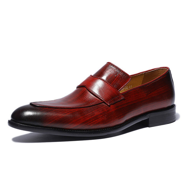 Hand-Painted Style Red Men Loafers Shoes - FanFreakz