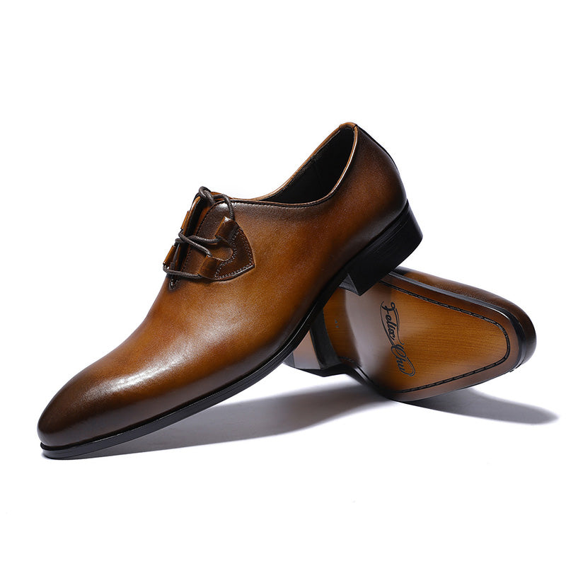 Gradient Pointed Toe Cross Tied Men Dress Shoes