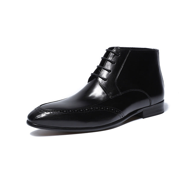 Pointed Toe Classic Genuine Leather Men Lace Up Ankle Boots with Perforated Details - FanFreakz