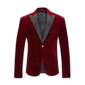 Wine Red Velvet with Black Peak Lapel Gentleman Slim Fit Men Blazer - FanFreakz