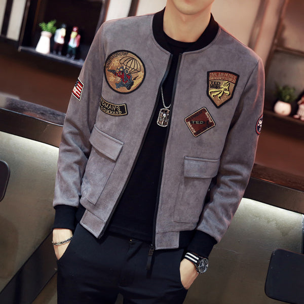 Faux Suede Military Workers Style Men Slim Bomber Jacket