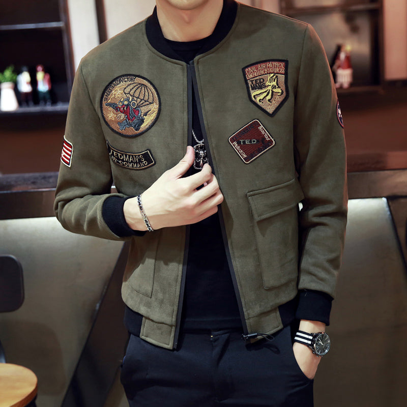 Faux Suede Military Workers Style Men Slim Bomber Jacket - FanFreakz