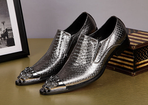 Shiny Men Leather Shoes Slip with Metal Pointed Toe