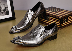 Shiny Men Leather Shoes Slip with Metal Pointed Toe - FanFreakz