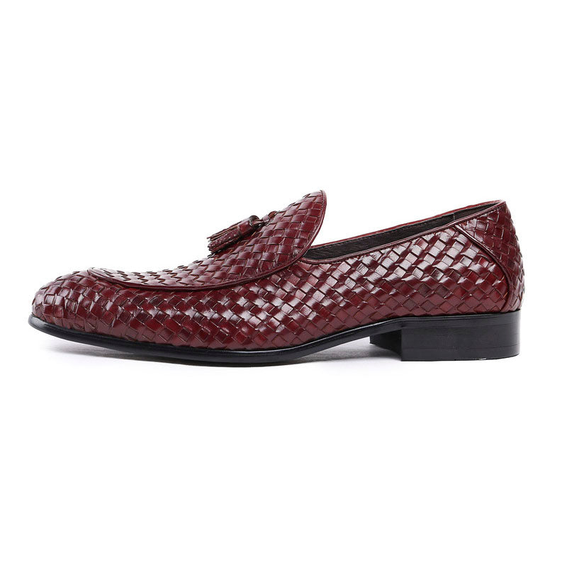 Tasseled Braided Woven Leather Men Elegant Loafers Shoes