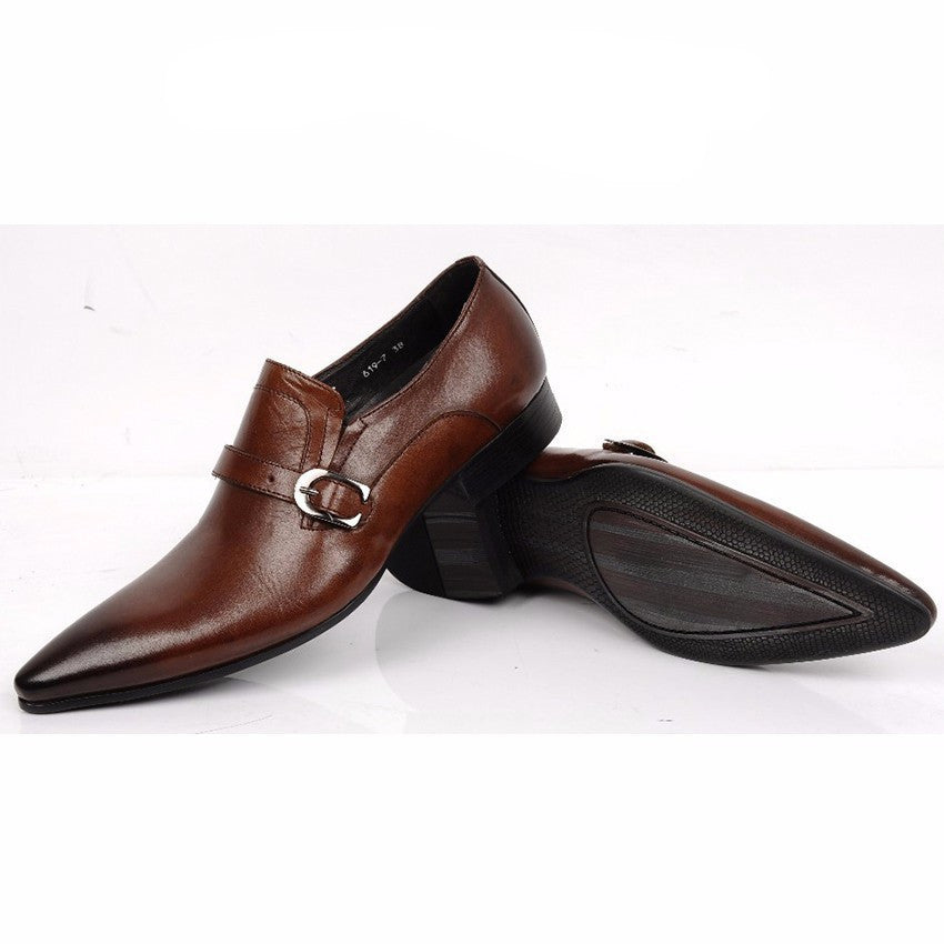 Elegant Vintage Style Men Loafers Shoes with Leather Strap and Buckle - FanFreakz