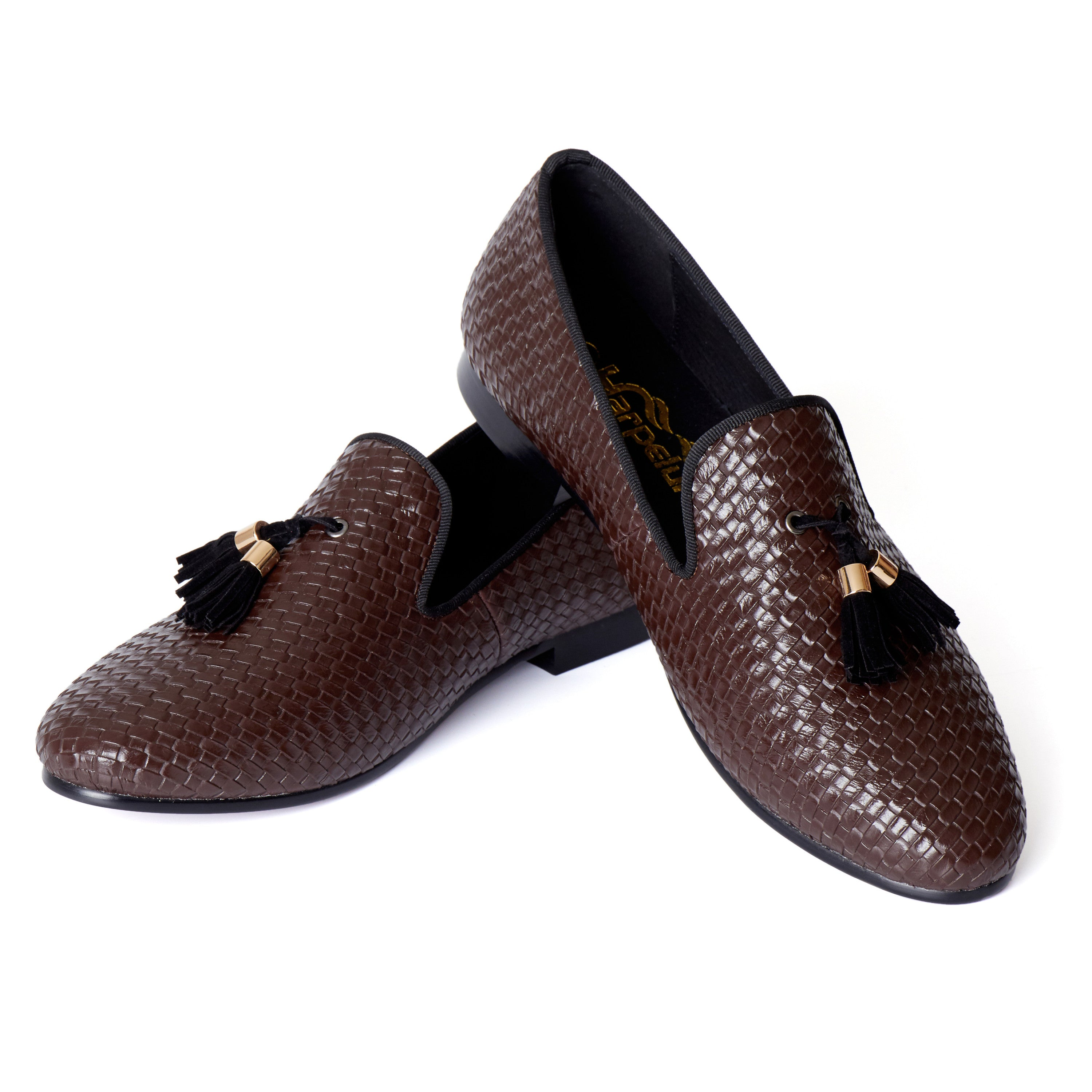 Tasseled Braided Woven Leather Men Loafers Shoes - FanFreakz
