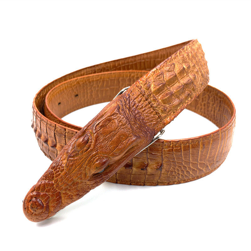 Mens Leather Belt with Crocodile Head Details - FanFreakz