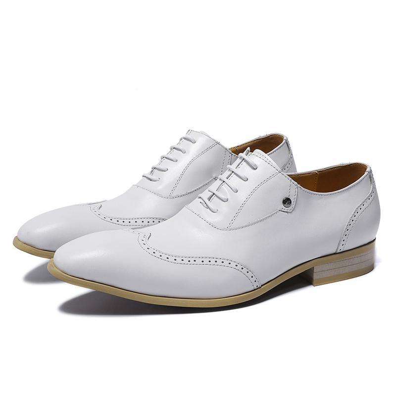 2cda9da44d6a5 Perforated Wingtip Detail White Lace Up Men Shoes - FanFreakz