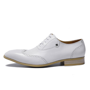 Perforated Wingtip Detail White Lace Up Men Shoes - FanFreakz