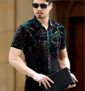 Sexy Flowers Short Sleeve Men Slim Fit Velvet Shirt - FanFreakz