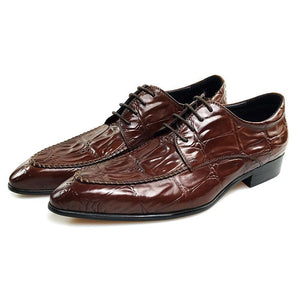 Exotic Big Croco Pattern Pointed Toe Men Derby Shoes - FanFreakz