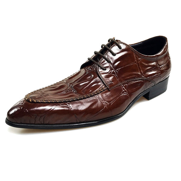 Exotic Big Croco Pattern Pointed Toe Men Derby Shoes