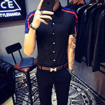 Double Ribbon on Shoulder Details Men Slim Fit Shirts - FanFreakz