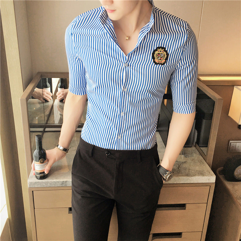 Stripped Men Slim Fit Shirts with Patched Details - FanFreakz
