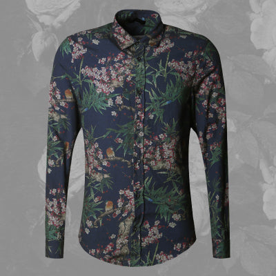 Bold Color with Floral Pattern Detail Men Long Sleeves Slim Fit Shirt - FanFreakz