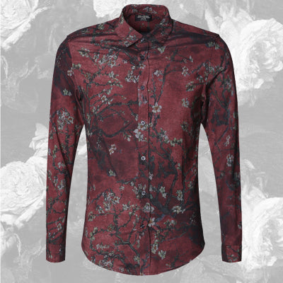 Bold Color with Floral Pattern Detail Men Long Sleeves Slim Fit Shirt