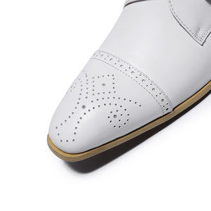 Single Monk Strap White Men Formal Shoe with Perforated Details on The Toe