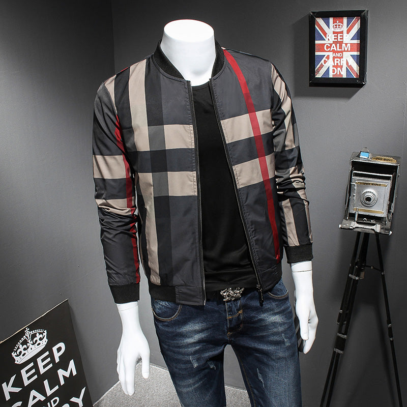 7c42ec397 Plaid Printed With Red Line Casual Fashion Men Bomber Jacket - FanFreakz