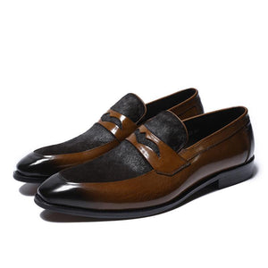 Round Toe Men Penny Loafer, Patchwork of Horsehair and Leather - FanFreakz