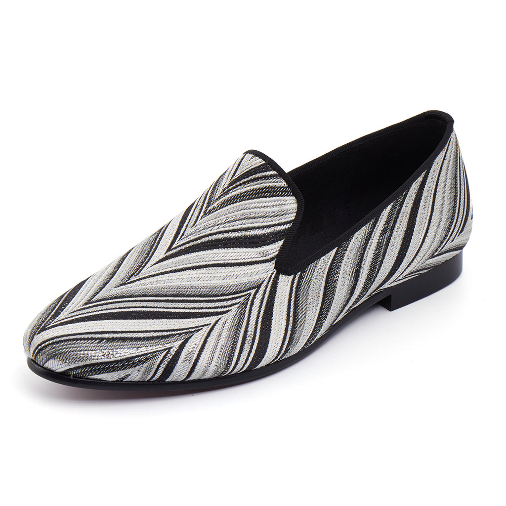 Black White Hairy Pattern Men Loafer Shoes