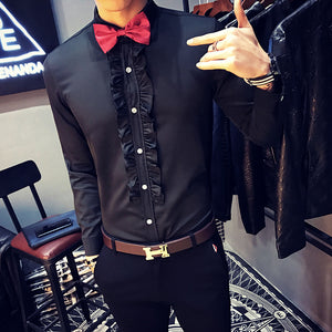 Ruffle Vintage Men Long Sleeves Shirt For Wedding Party