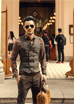 Men Dark Floral Printing Long Sleeve Elegant Shirts - FanFreakz