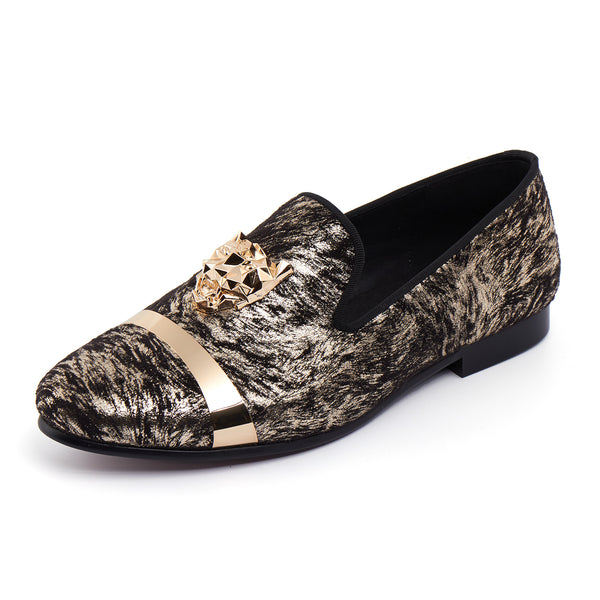 Beast Buckle Men Wedding Printed Velvet Loafer Shoes