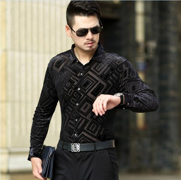 Geometric Pattern Velvet Slim Fit Men Long Sleeves Shirt