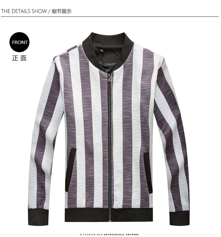 Big Vertical Stripes Korean Style Men Slim Fit Jacket - FanFreakz