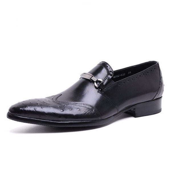 Unique Style Men Loafers Shoes, Ostritch Toe With Patch Work and Buckle